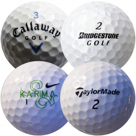 Mix značek golfových míčů Callaway, Bridgestone, Nike, TaylorMade 100 ks, levné golfové míče